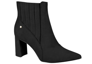 Liz Black Stretchable Pointy Toed Ankle Bootie | women's shoes
