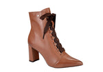 Caramel Pointy Lace up Medium Block Heel Bootie | Brazilian made