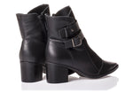 Scarssi Black leather/suede Buckled ankle Bootie | women's medium heel