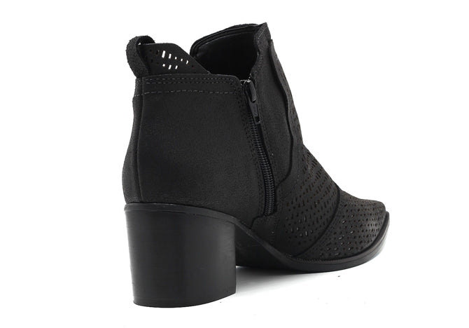 Palley black chunky heel leather ankle bootie | women's medium heel