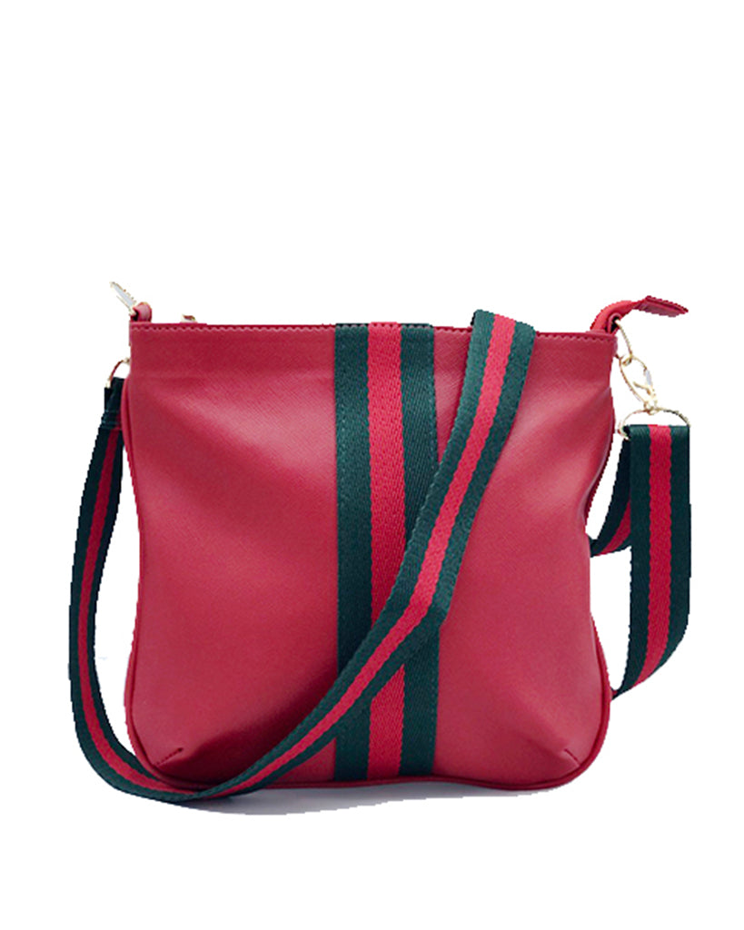 Sally Red Striped Crossbody