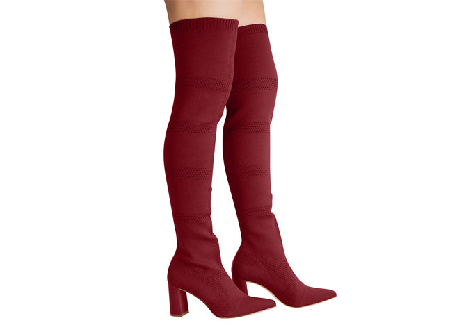 Malha ruby red over the knee mesh boot | women's boots