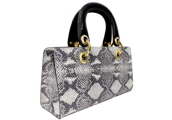 BLACK AND BLACK SNAKE SKIN HANDBAG DS2761