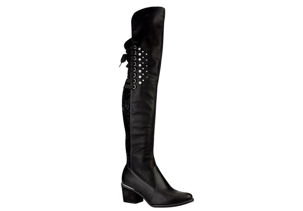 Black Over The Knee Boots T0945