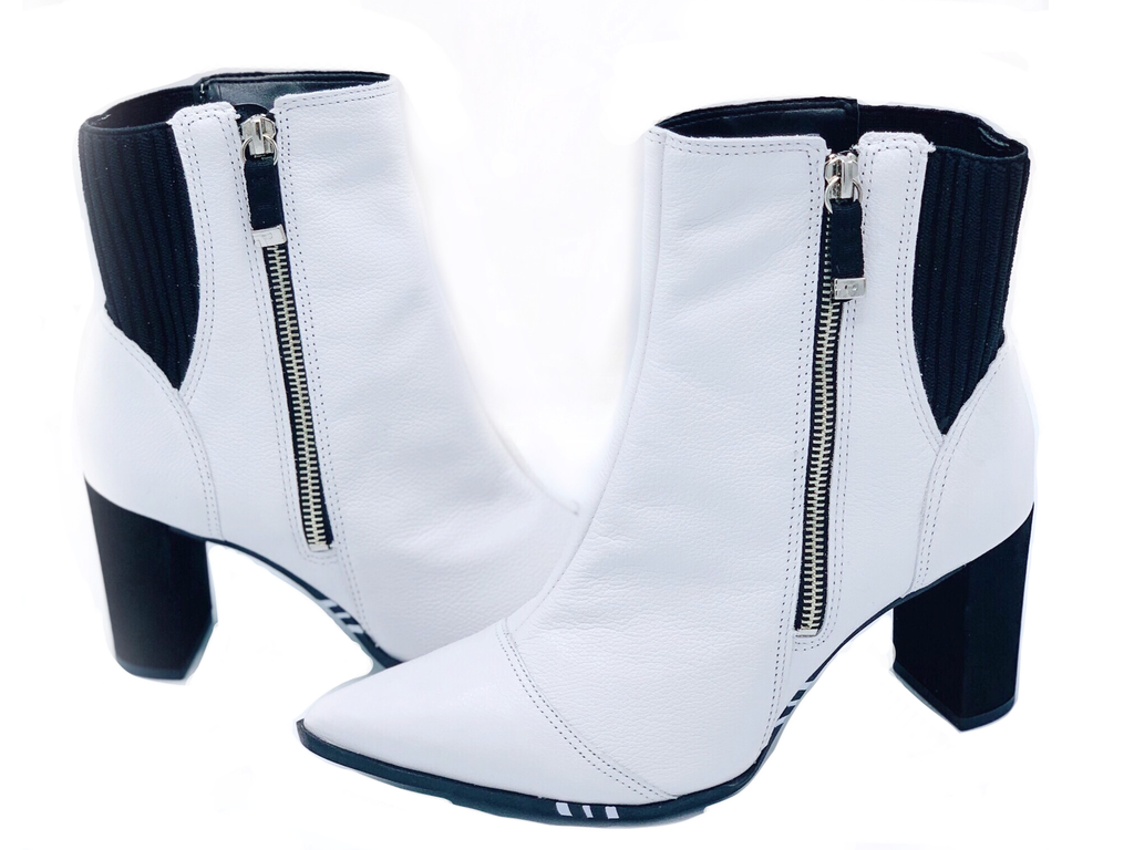 Lucia White Pointed Toe Booties