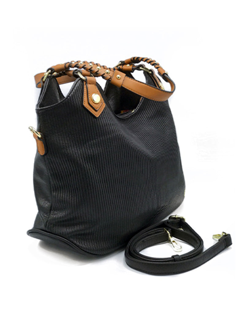 Ashley Black Ribbed Tote