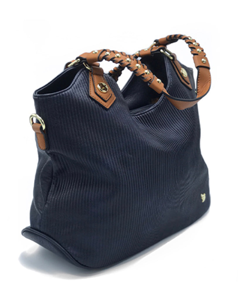 Ashley Navy Ribbed Tote