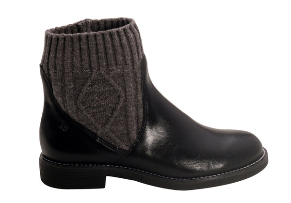 Genova Grey Knit/Leather Pull-on Ankle Bootie | women's medium heel