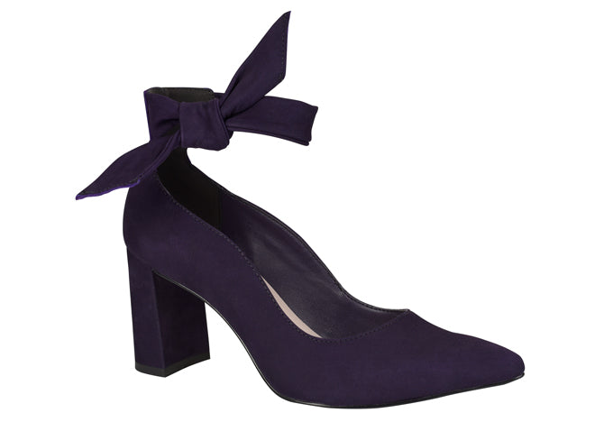 Liz violet bowtie ankle pump heel | women's medium heel