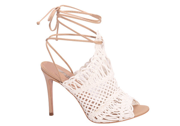 WOVEN LEATHER LACE UP SANDAL WHITE - DPARZ