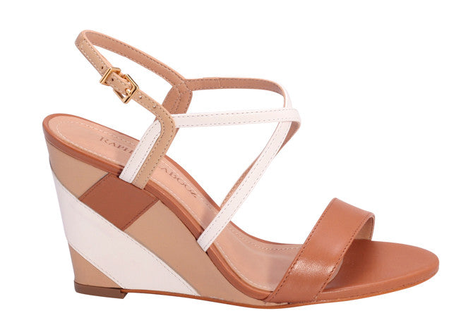 WEDGE TRICOLOR CAMEL/AMBAR/WHITE SANDAL - DPARZ