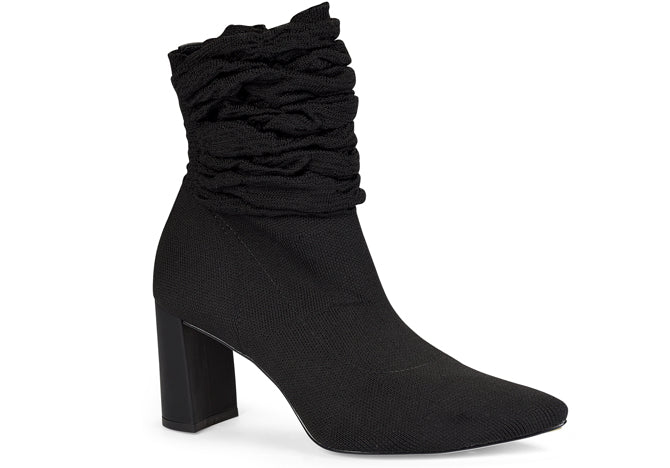 Malha Jet Black Tall ruffled ankle bootie | Fall 2018