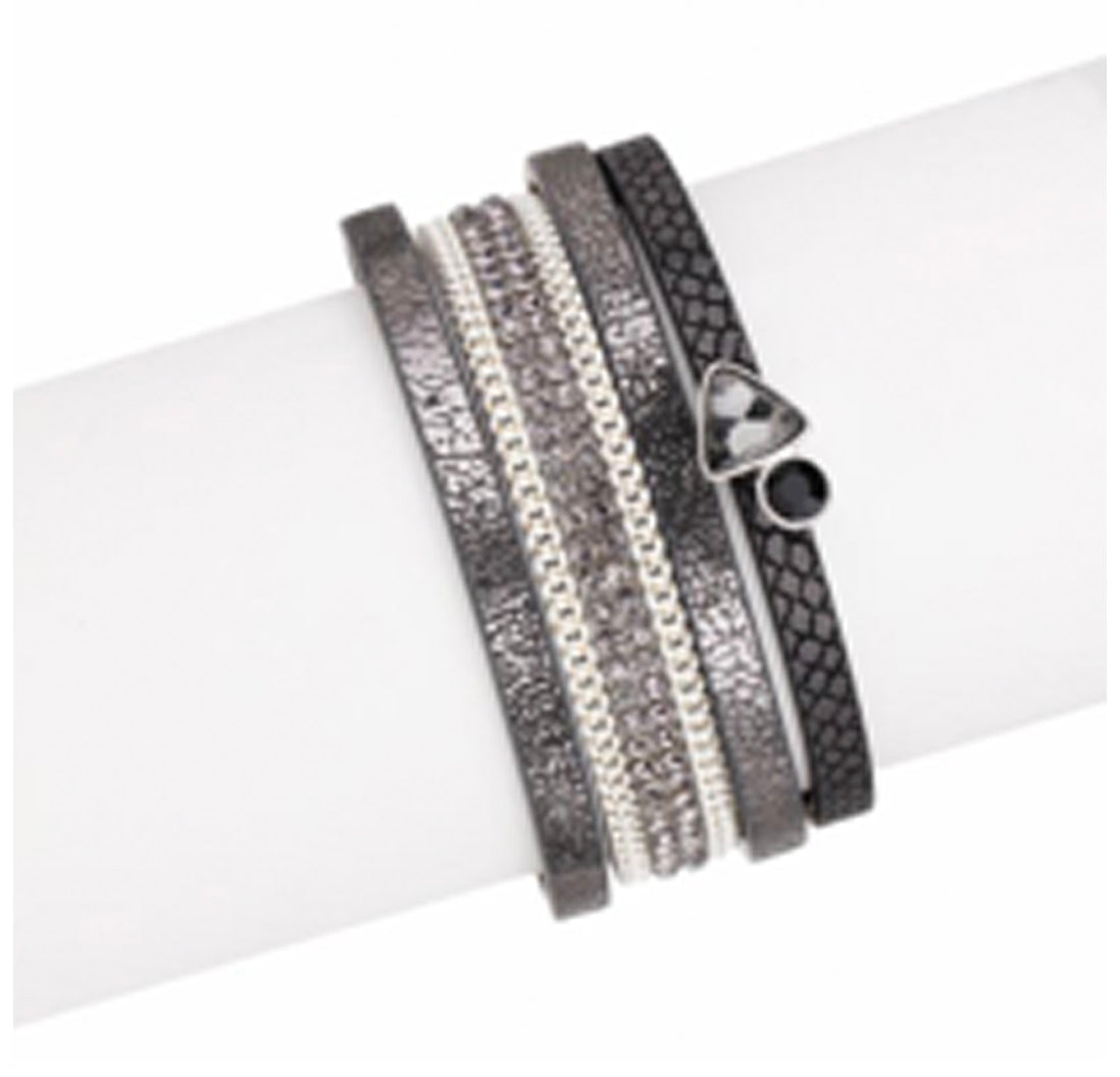 MIRAGE METALLIC LEATHER WRAP BRACELET BLACK