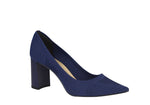 Blue classic pointy toed pumps | Block heel  |Mesh Shoes
