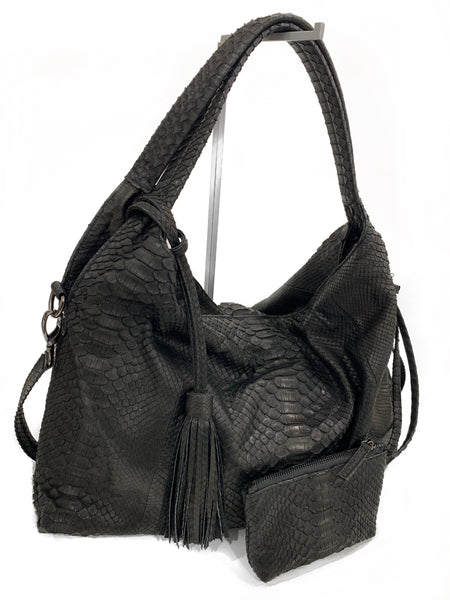 Alexa Black Python Hobo Bag