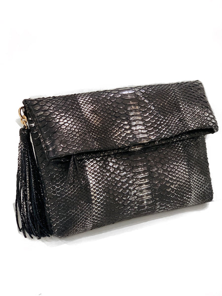 Serena Black and Silver Clutch