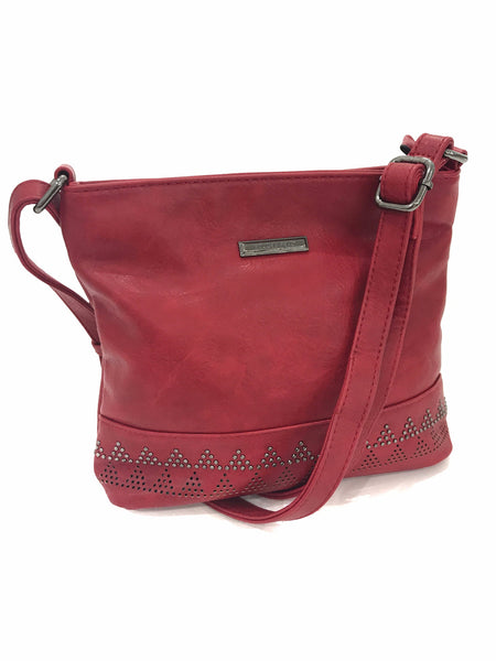 PYRAMID CROSS-BODY LEATHER BAG - RED