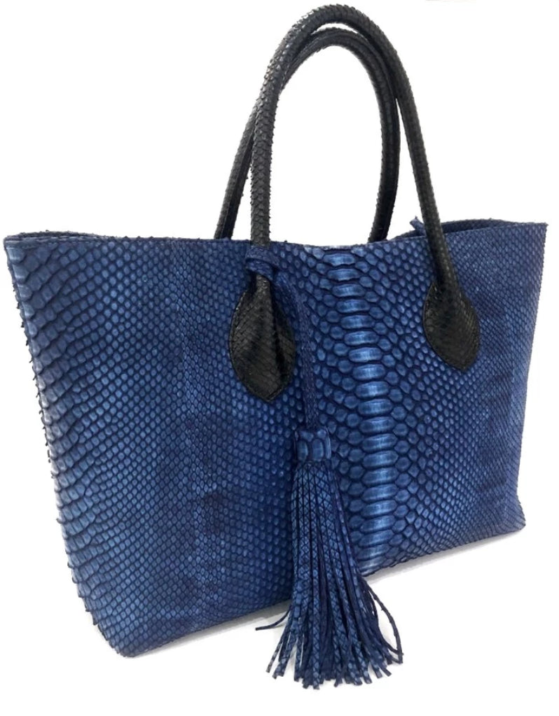 Blue Python Tote | Exotic Leather Skin handbags