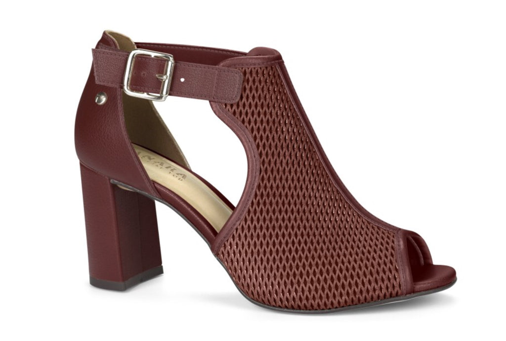 Maroon Medium Block Heel Peep Toe  Bootie|Women's Fall  Shoe Trend