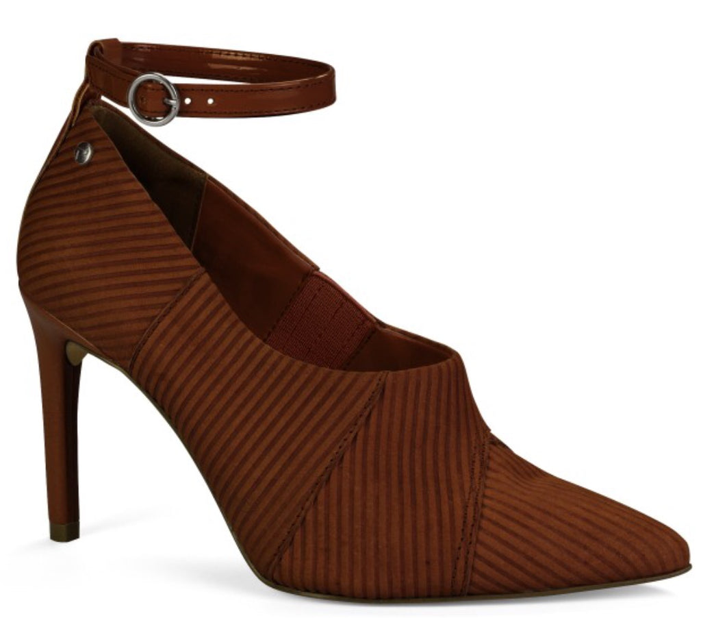 Maroon Suede Ankle Wrap Cut out Pump | Women's high heel