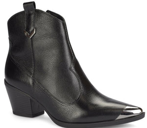 Black Pointed Silver Tip Ankle Boot | Women's Western Boot