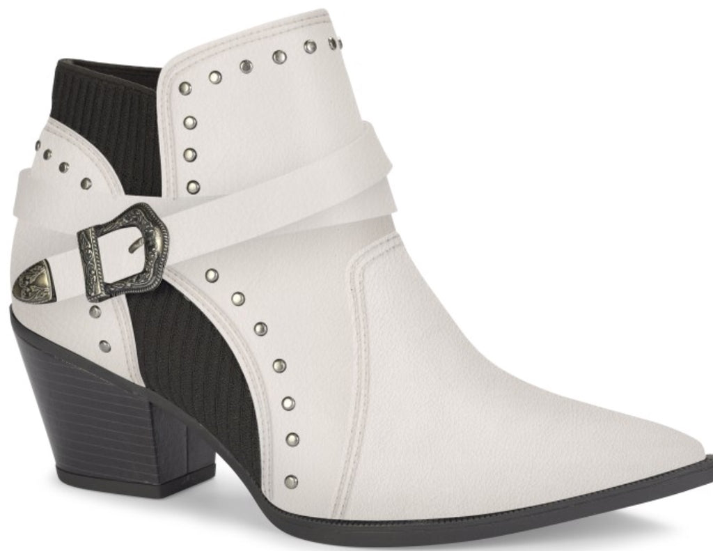 White Low Leather Studded Ankle Boot | Women's Western Boot