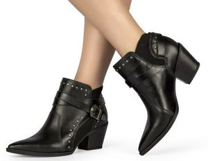 Black Leather Studded Low Ankle Boot | Women's Western Boot