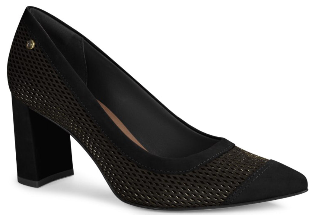 Black Suede Woven Cut Out Pump | Women's Pump