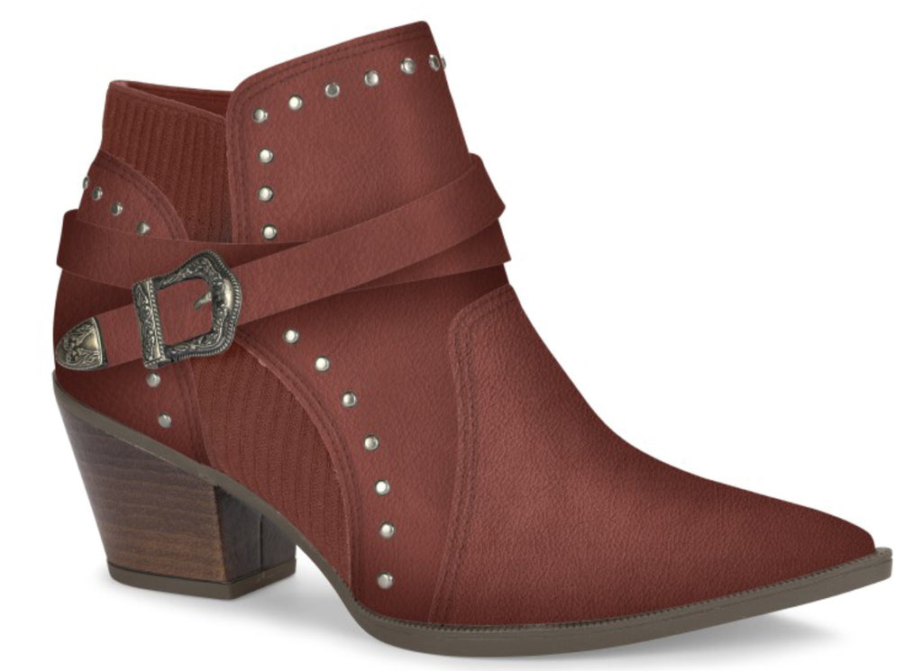 Maroon Studded Buckle Ankle Boot | Women's Boot