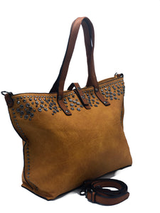 Mustard Leather Jeweled Tote | Women's Handbags