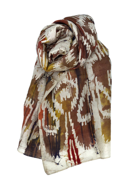 Silk Scarf Multicolor Brown