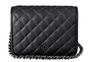 Pop Crossbody Quilted Leather Mini Black - DPARZ