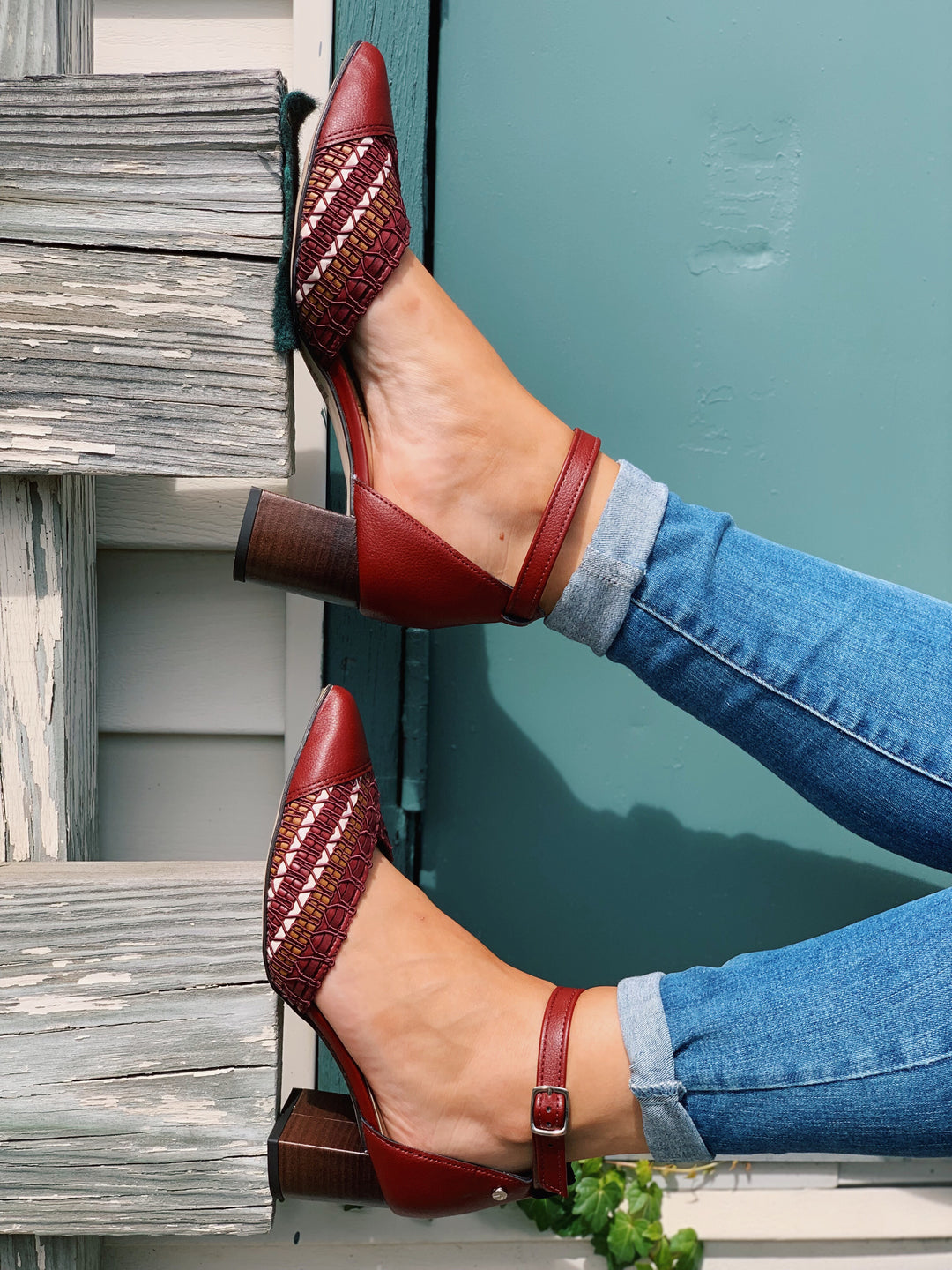 Maroon Pointy Toe Sandal | Low Heel Women's Shoes