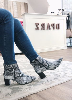 Snake Print Low Ankle Bootie | Women's Boots