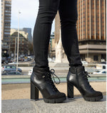 Black Suede Chunky Lace Up Boots | High Leather Block Heel