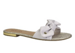 White Bowtie Slides I Women's Flats
