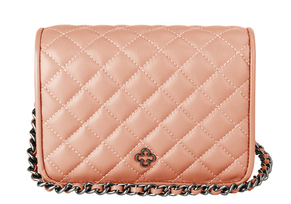 Pop Crossbody Quilted Leather Mini Blush - DPARZ