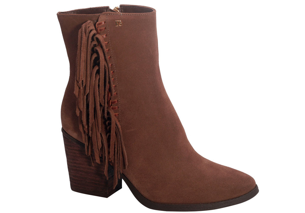 Brown suede Ankle Booties fringe| low block heel | Dparz Boutique