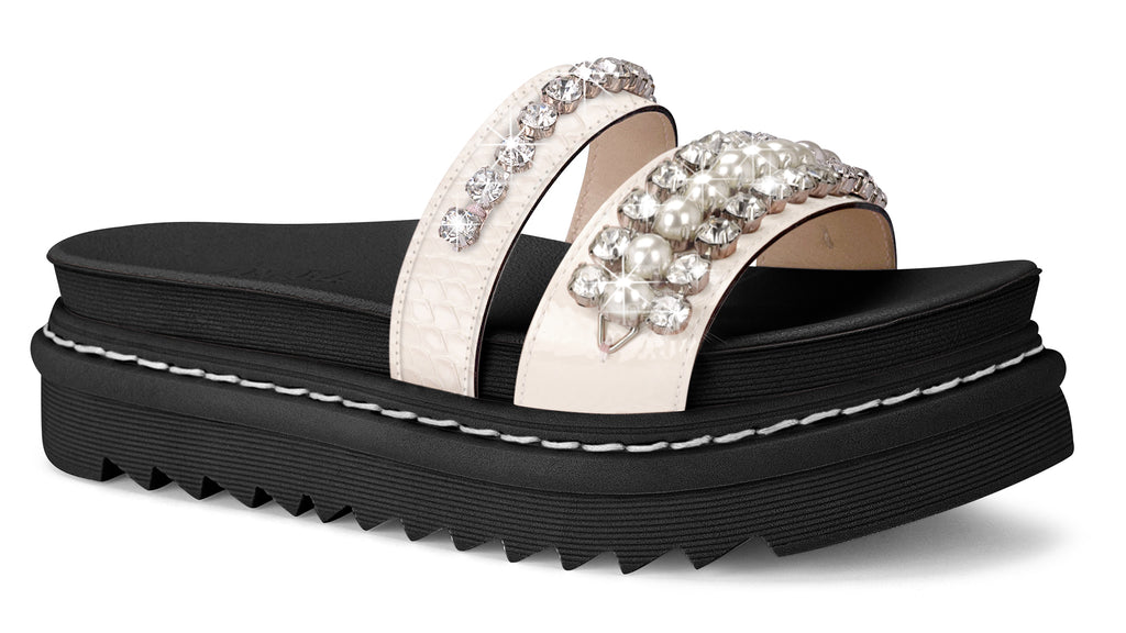 Katrina White Studded Slide