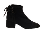 Nobuck Black Back Laced Block heel Ankle Bootie | women's mid heel