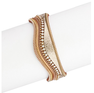 WAVY GOLD LEATHER SNAP BRACELET