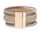 TAUPE LEATHER SNAP STRAP BRACELET