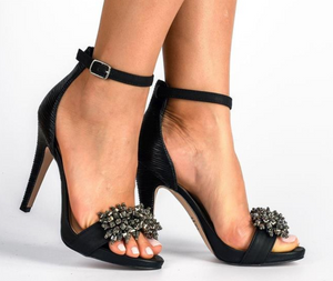 Moulin black beaded stilettos T1706