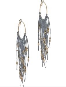Night Out Fringed Earring GREY/GOLD