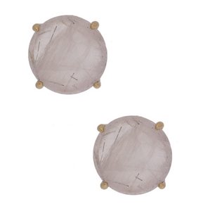 NATURAL STONE STUD CLEAR EARRINGS