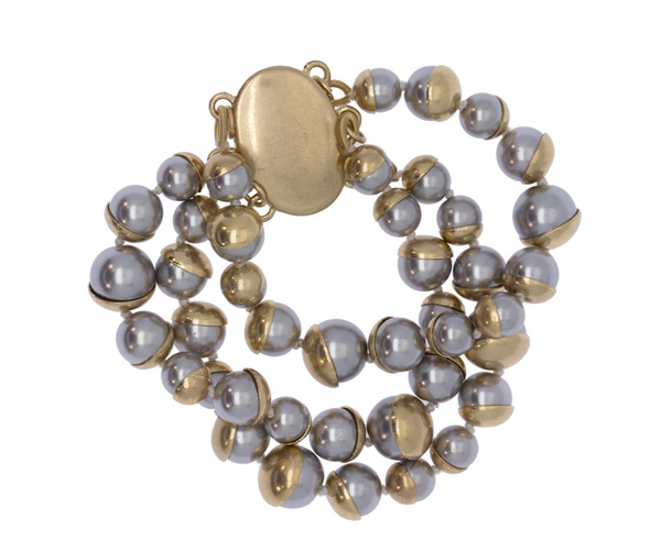 Half Moon Gold Grey Bracelet