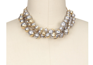 Half Moon Gold Grey Necklace