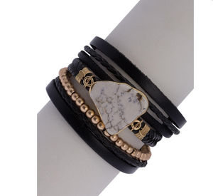 Marble Braid Bracelet Black