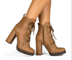 Paula Caramel Lace Up Bootie