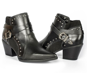 Luciana Black Studded Bootie